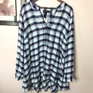 Lane Bryant Plaid High Low Tunic Size  22/24 Plus
